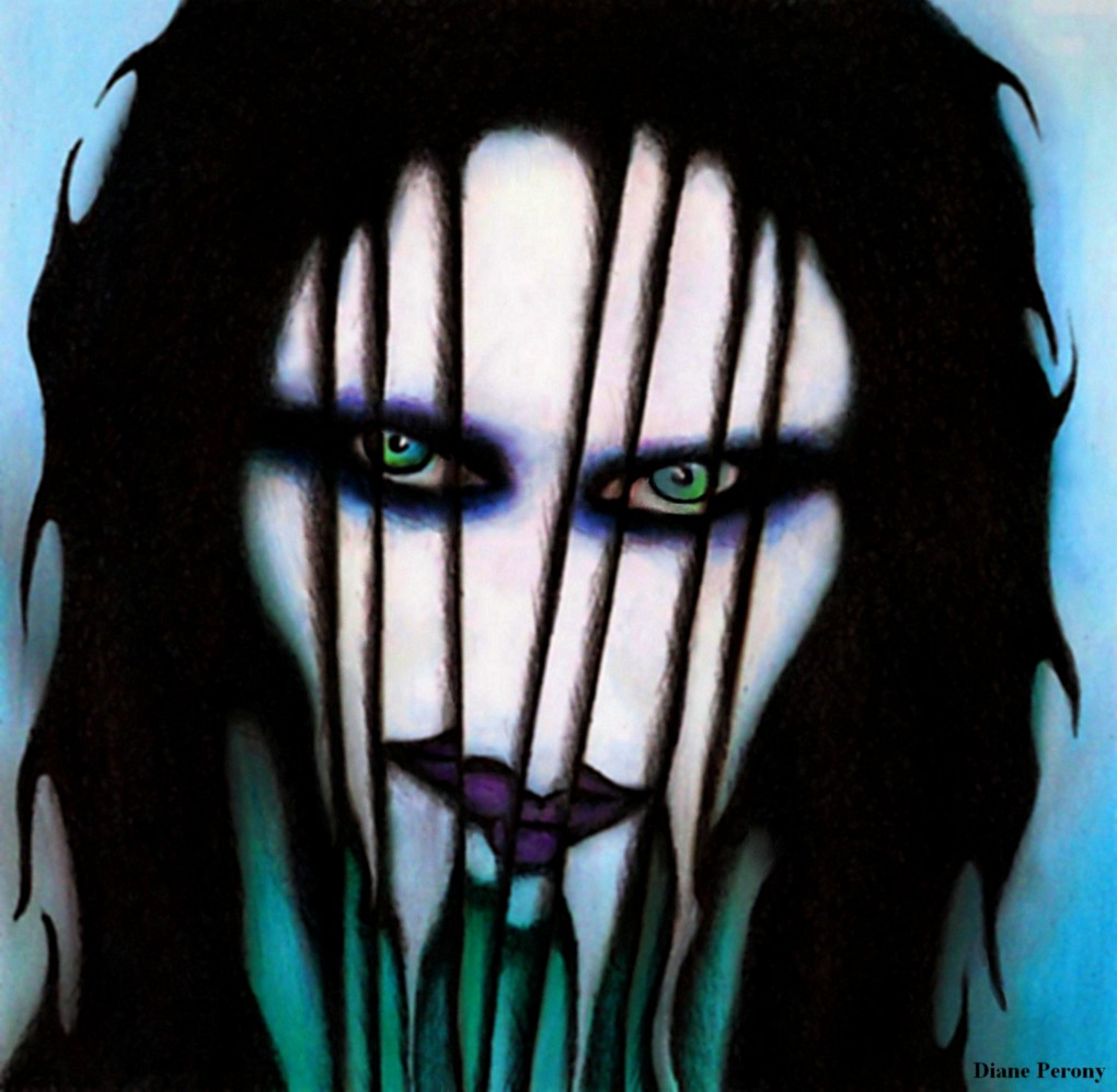 Marilyn Manson - Dessin crayons aquarelle et stylo bille / Diane Perony (cmonbook.com)
